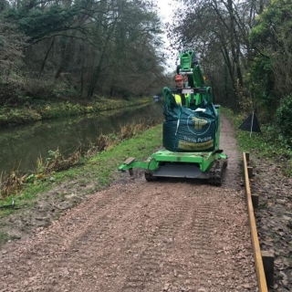 The Hooka on hire delivering bulk bags on restricted towpath better alterntative to a tracked dumper and digger