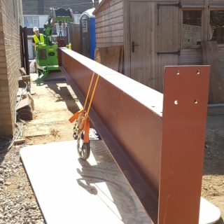 Huge steel beam installation made easy with the Hooka mini tracked crawler crane, only 1 metre wide ideal for tight access sites. Hired from Hook-up Solutions call 01462 499 642