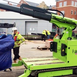 Hire the Hooka to easily move bulk bags of sand and ballast to point of use on site with restricted access that were delivered by Jewsons at the roadside