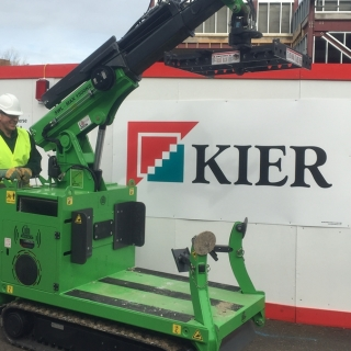 The Hooka used by Kier Construction at Bath Hospital for safely moving bulk bags and materials on site with restricted access
