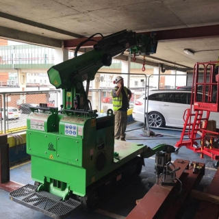 Hooka-installing-steel-RSJ-I-beams-in-Gloucester-lift-and-carry-crawler-crane-tracked-forklift