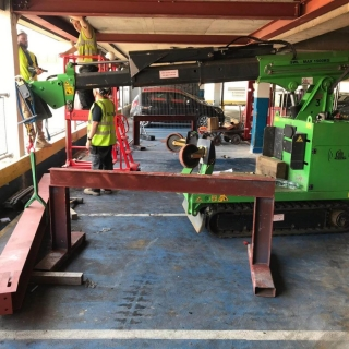 Hooka-safely-installing-steel-beams-in-Gloucester-lift-and-carry-crawler-crane-tracked-forklift