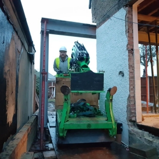 how to move a steel beam for a picture frame using the hooka steel beam lifter on site with restricted access