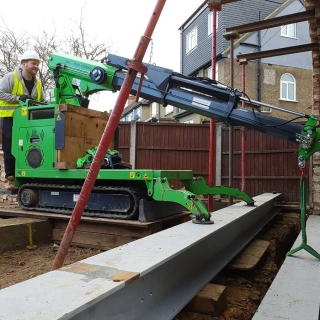 steel RSJ beam picture frame installation with the hooka steel beam lifter
