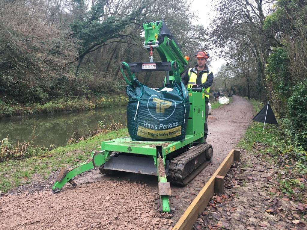 The Hooka mini tracked crawler crane, alternative to mini tracked dumper, on hire from Hook-up Solutions 01462 499642 call us to hire a Hooka and operator to move bulk landscaping materials