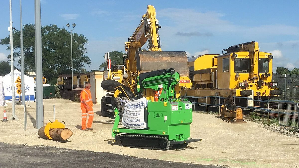 The Hooka tracked forklift on hire in railway maintenance for network rail carrying bulk materials