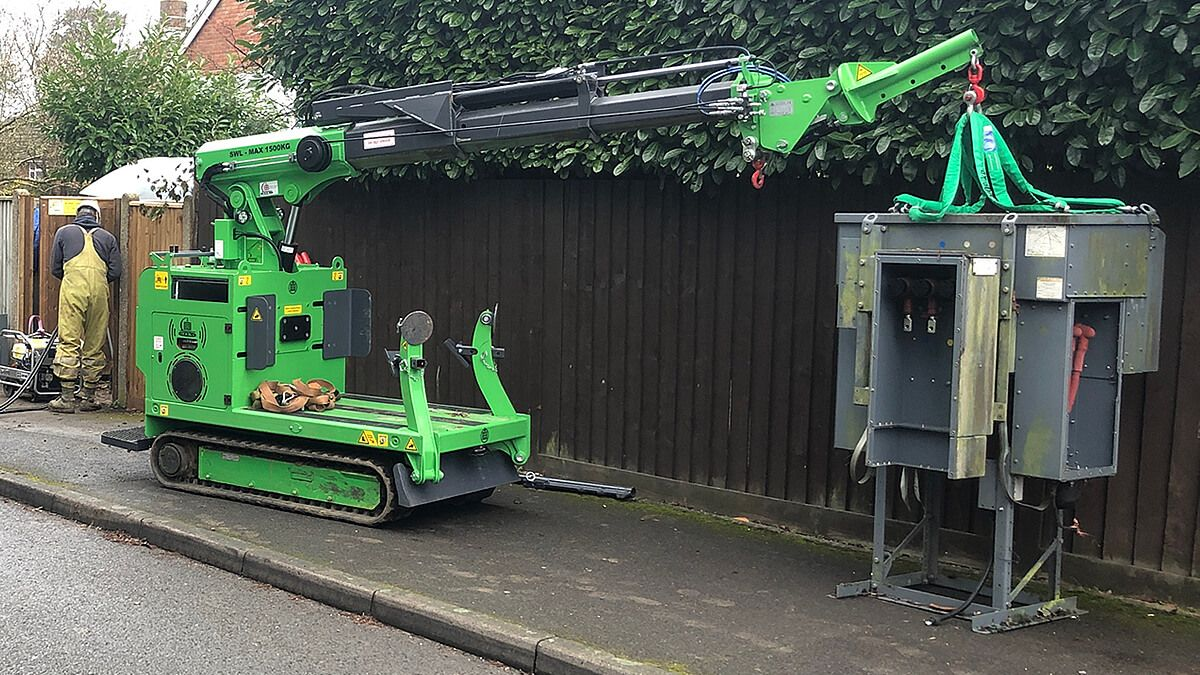 how to easily move utility power distribution equipment with Hooka pick and carry mini hoist crawler crane