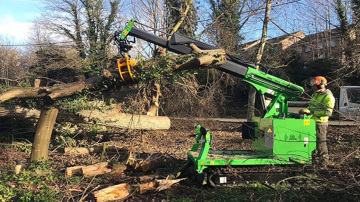 The Hooka being used as a timber forwarder helping to extract timber during line clearance work